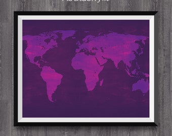 World map art - 6 Poster Maps of the World, World map print, Multicolored Illustration, Blackboard Texture, World Map, Modern Wall Art.