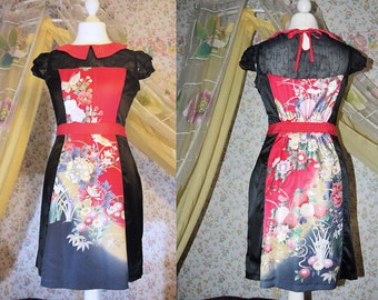 unique vintage furisode kimono, red and black silk dress with flowers and buterflies