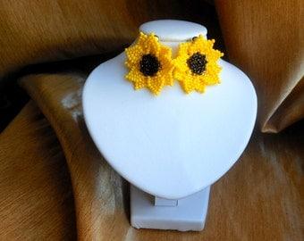 earrings flower earrings sunflower earrings with beads