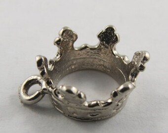 Queen's Crown Sterling Silver Vintage Charm For Bracelet