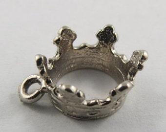 Queen's Crown Sterling Silver Vintage Charm For Bracelet
