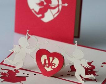 Cupids & heart pop-up card