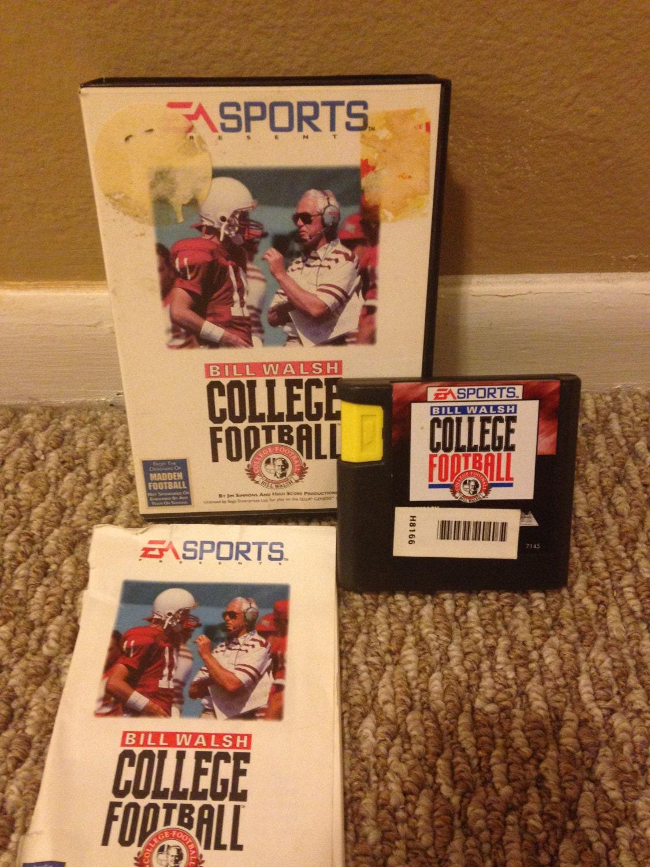 Bill Walsh College Football Sega Genesis Game Complete Works Great
