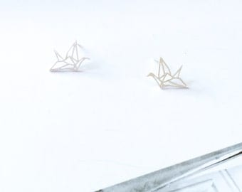 Silver Paper Crane Stud Earring 925 Silver Origami Crane Stud Earring Hallow Earring Simple Everyday Wedding Bridal Bridesmaid Birthday Gift