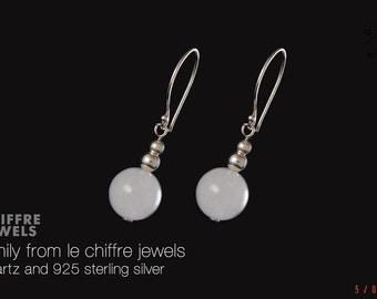 Emily white quartz silver earrings