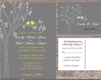 Custom love bird  wedding invitations,  wedding invitations, love bird  wedding invite set. board wedding invitations