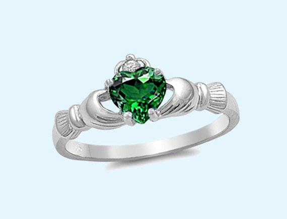 silver claddagh ring emerald cz by nilujewelry