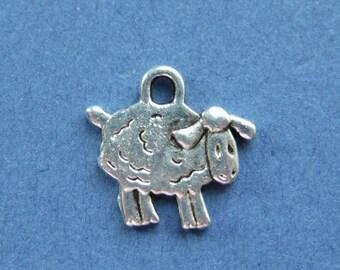 10 Sheep Charms - Sheep Pendants - Sheep - Animal Charm - Antique Silver - 15mm x 14mm --(N8-10192)