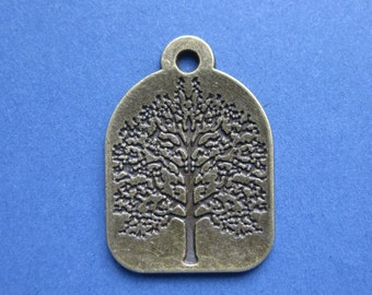 5 Tree Charms - Tree Pendants - Lucky Tree - Antique Bronze - 31mm x 22mm  --(No.41-10132)