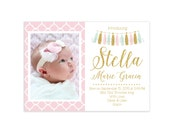 Baby Girl Gold Glitter and Pink Birth Announcement Card