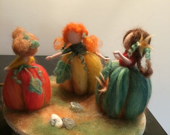 Needle felted doll, Waldorf inspired, Wool Orange Fairies, Three Pumpkins, Home decor, Soft sculpture, Art doll, Halloween, Gift