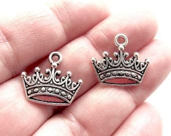 10pcs Crown Charms Antique Silver Tone Charm Pendant Bracelet Necklace 18mm x 15mm CS-0169