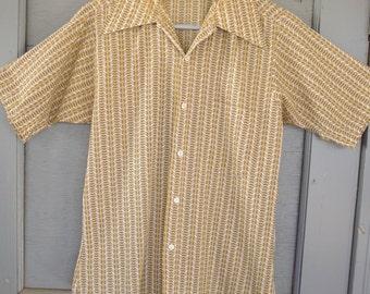 Vintage Men's Atomic Rockabilly Geometric Button Short Sleeve Shirt Small