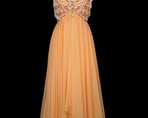 1960s beaded melon chiffon gown. Sequins, glass bugle, pearl beads. Vintage evening, prom, formal, red carpet. Uneven high-low hi-lo hem
