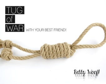 Tug Pet Toy for your Dog! Ideal for Tug of War & Fetch - Handmade Hemp Rope Dog Toy