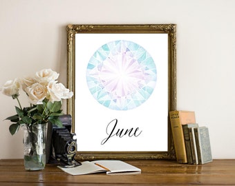 June Birthstone Printable ~ 8x10 Art Print ~ Alexandrite ~ Purple Pink Gemstone Geology ~ June Birthday ~ Printable Typography Wall Art