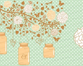 Flowers hanging jars clipart tree branch mason jar clipart peach pink mint butterfly dragonfly heart ampersand wedding invitation