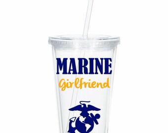 Personalized  Marine Girlfriend, Tumbler Marine Wife,Marine Wife, Marine Girlfriend Deployment Gift, Deployment tumbler, Military Spouse