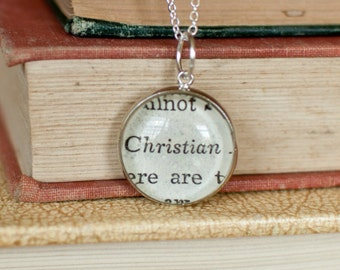 Christian Charm, Book Page Charm, Religious Pendant Necklace