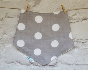 Bandana Dribble Bib - Organic Bamboo & Cotton - Gender Neutral - Grey Polka Dot