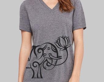 Elephant, V Neck T Shirt, Elephant Shirt, v neck shirt, women, v neck tshirt, womens, graphic tees, v neck, screen print shirt