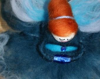 Unique Wool Felt Fairy.  Ocean Goddess. wool felt fairy