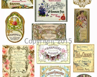 Printed Vintage French Victorian Perfume Label Collage Sheet 105 8.5 x 11 Printed Sheet