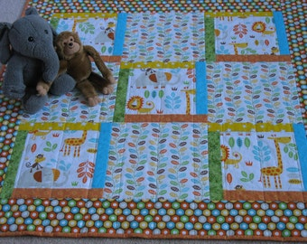 Jungle Cuties Baby Quilt, FREE SHIPPING