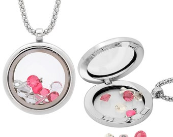 Interchangeable Breast Cancer Pink Ribbon Locket Necklace
