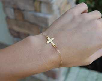 14K Gold Filled, Cross Necklace, Dainty Necklace, Tiny Cross, Tiny Cross Necklace, Gold Filled Chain, Gold Filled Necklace, Faith