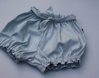 Baby Bloomers / Baby Shorts / Belted Bloomers - Blue Grey - READY TO SHIP by Little Dreamer