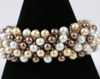 Chocolate Coffee and White Pearl Beaded Bracelet