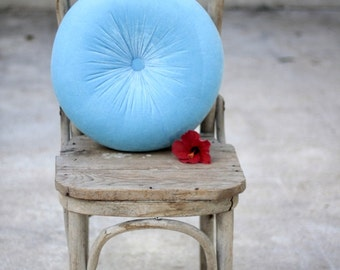 """Turquoise blue velvet round pillow 16"""""""