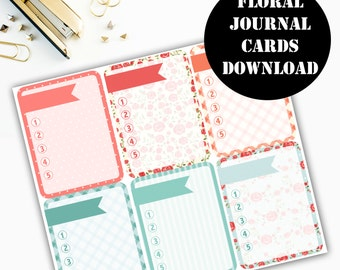 Floral Journaling Card Printable / Journal Cards / Scrapbook Kit / Journaling List / Listers Gotta List / Instant Download 00081