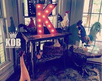 """Lighted Letter K Marquee Sign - 24"""" High"""