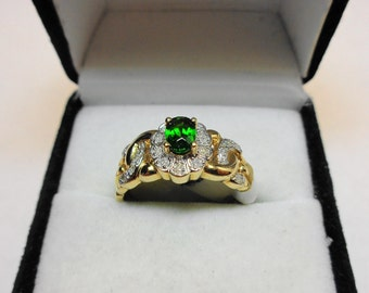 Chrome Diopside Ring. Set in a 14 karat Yellow Gold Cocktail Ring.
