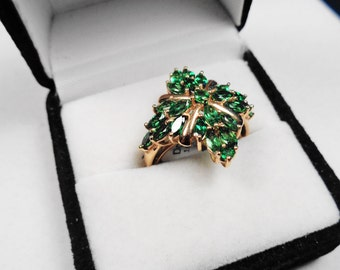 Tsavorite Ring.  Natural Tsavorite Cluster Gold Cocktail Ring.