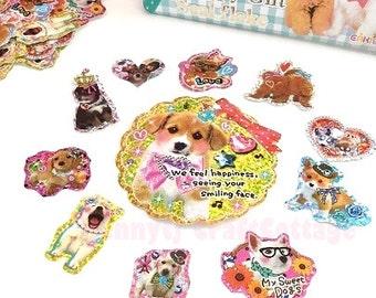 Glitter Flake Sticker Sacks. Cute Puppy /Dog Stickers. Daily Diary Deco Stickers. For Filofax KIKKI.K Erin Condren Life Planner decorations.