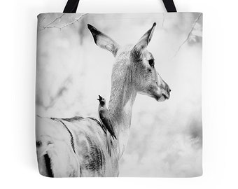 Cute bag, cute tote, black and white bag, deer, rustic, animal, kitchen bag,shopping bag, everyday bag,grocery tote, book tote, reusable bag