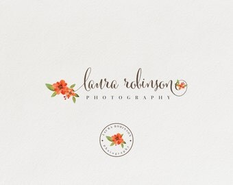 Premade Logo Design and Alternative Round Logo, Floral, Feminine, Watercolor, Photography, Stamp