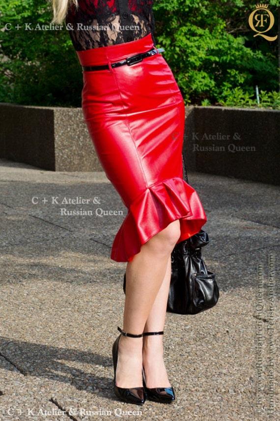 ck leather skirt pvc skirt fishtail skirt by