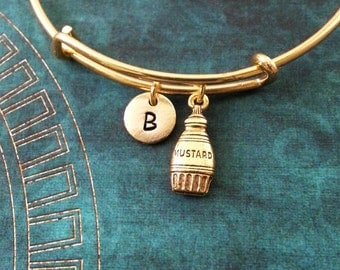 Mustard Bangle Bracelet Gold Mustard Bracelet Mustard Jewelry Mustard Gift Stackable Bangle Adjustable Bangle Personalized Bangle Expandable