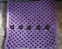Large Handmade Pillowcase , Knit Pillowcase With Rustic Buttons , Purple Pillowcase , Knitted Pillowcase , Pillowcase , 19'' Pillow Cover