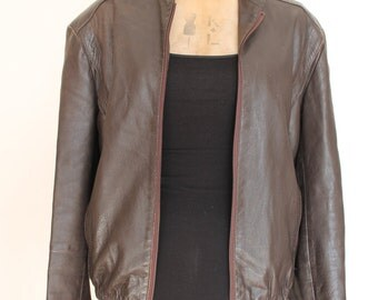 Ladies Brown Vintage Leather Bomber Jacket size 12