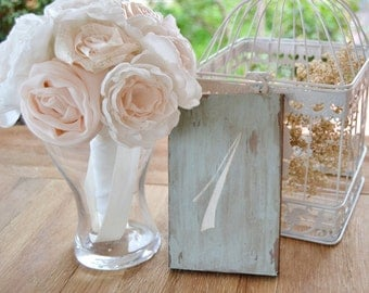 Romantic Wedding Table Numbers Dusty Blue Chalk paint,(set of 5), Wedding Sign blue vintage hand painted. Vintage centerpiece wedding table