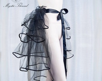 Black tulle tail-gothic tail-Burlesque tail-black tail-tulle tail