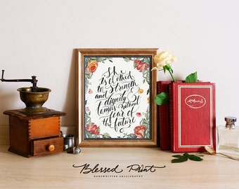 Bible Verse Print - Printable Proverbs 31:25 She Is Clothed With Strength and Dignity handwritten calligraphy Blessed Print watercolor roses
