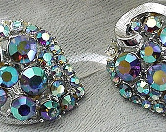 Aurora Borealis Stones Clip on Earrings by Art