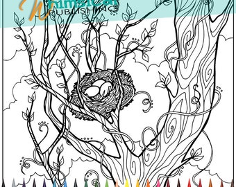 Coloring Pages For Adults Trees Tree By Whimsicalpublishing - coloring pages birds nest