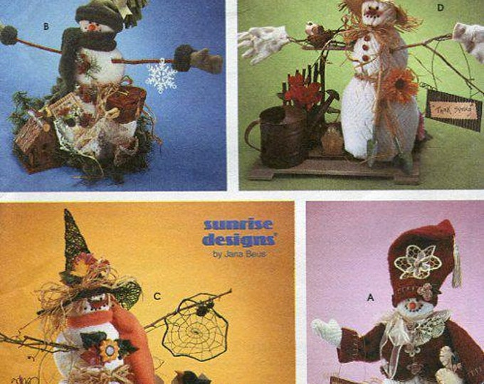 "FREE US SHIP Simplicity 8469 Crafts Snowmen Snowwomen Snowman ""think spring"" Dolls Halloween Christmas Garden Scarecrow Uncut  Jana Beus"